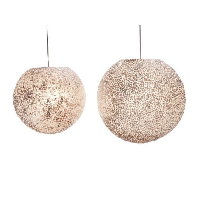 Villaflor schelpenlamp - Wangi White - hanglamp - Hangende bol - Ø 40 cm