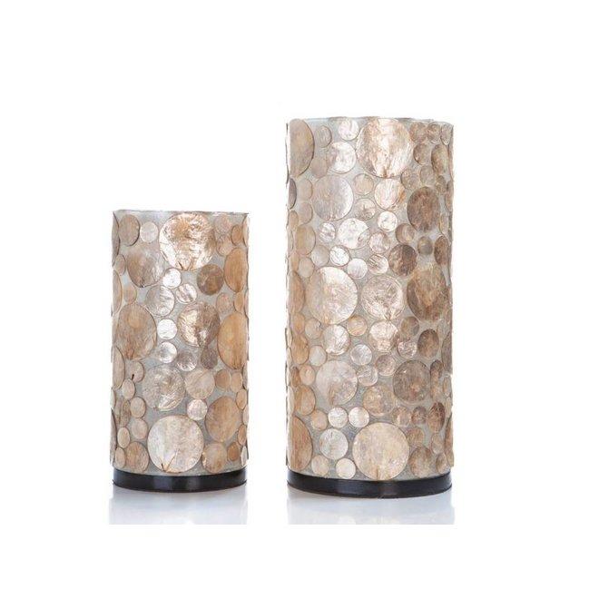 Villaflor schelpenlamp - Coin Gold - tafellamp - Cilinder - hoogte 30 cm