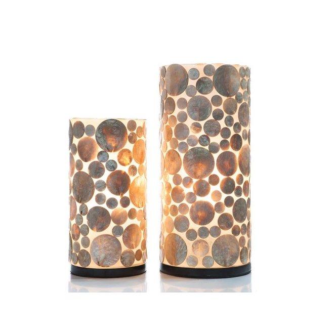 Villaflor schelpenlamp - Coin Gold - tafellamp - Cilinder - hoogte 40 cm