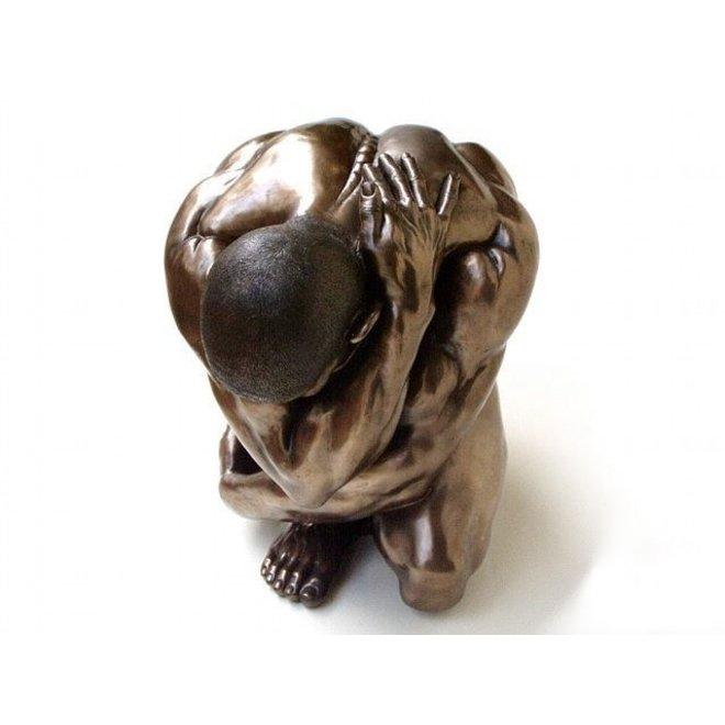 'Man Squatting' bronze, XL