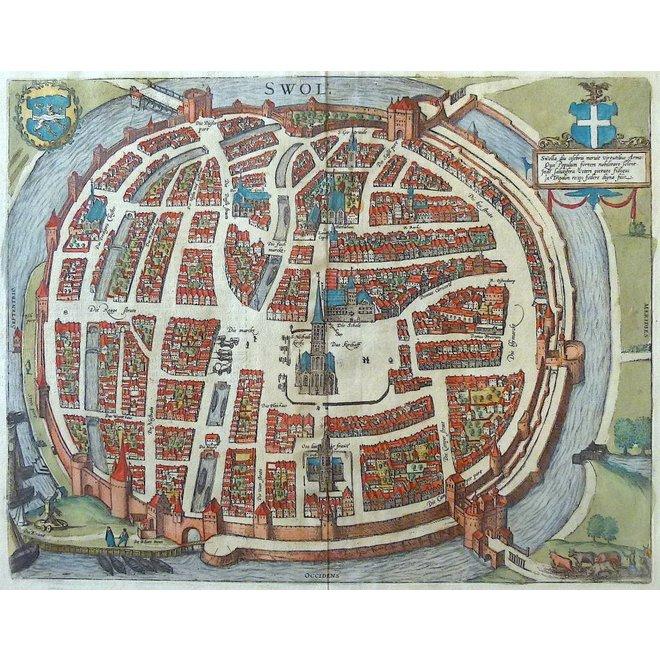 Verkocht - Collectie Gouldmaps - Zwolle; G. Braun / F. Hogenberg - Swolla diu Celebris (..) - 1581