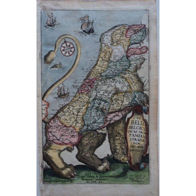 Verkocht - Collectie Gouldmaps - Leo Belgicus; F. Strada - De Bello Belgico (..)-1640