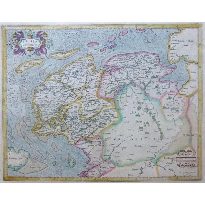Collectie Gouldmaps - Friesland, Groningen, Drenthe; H. Hondius / G. Mercator - Frisia Occidentalis - 1633