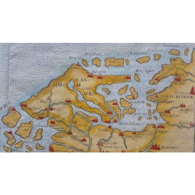 Collectie Gouldmaps - De lage landen; G. Ruscelli - Flandra Brabantia et Holanda Nvova - 1574