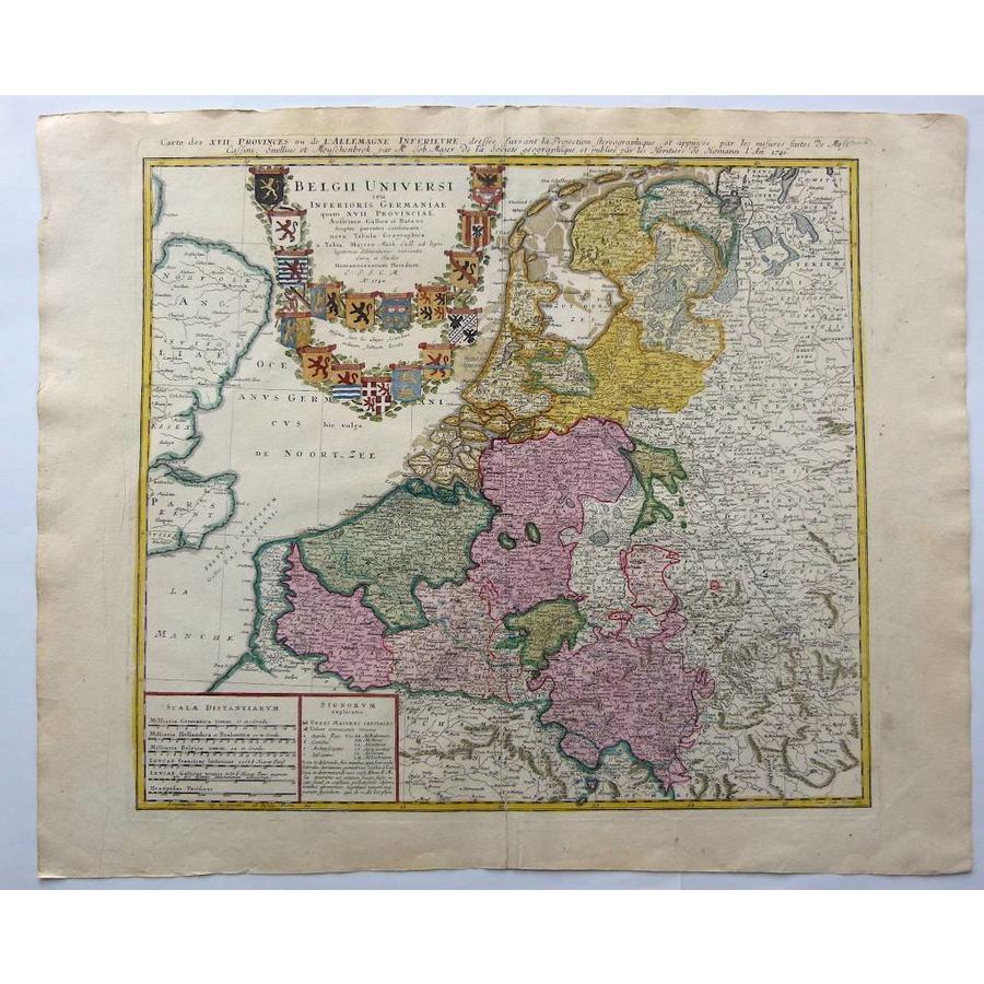 Gouldmaps Verkocht- XVII Provinciën; J.B. Homann erven - Belgii Universi seu Inferioris Germaniae - 1748