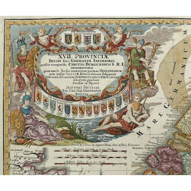 Verkocht - Collectie Gouldmaps - XVII Provinciën; M. Seutter - XVII Provinciae Belgii sive Germeniae Inferioris. - 1745