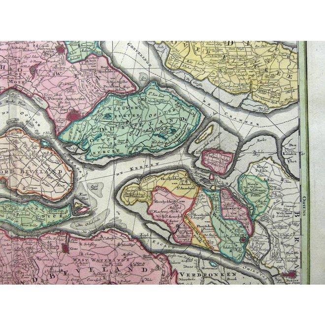 Verkocht - Collectie Gouldmaps - Zeeland; Seutter M. - Zeelandiae Comitatus (..) - 1734