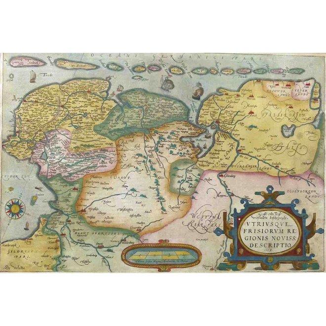 Collectie Gouldmaps - Friesland, Groningen, Drenthe, Ost Friesland; A. Ortelius - Oost end West Vrieslandts beschrijvinghe (..) - 1584