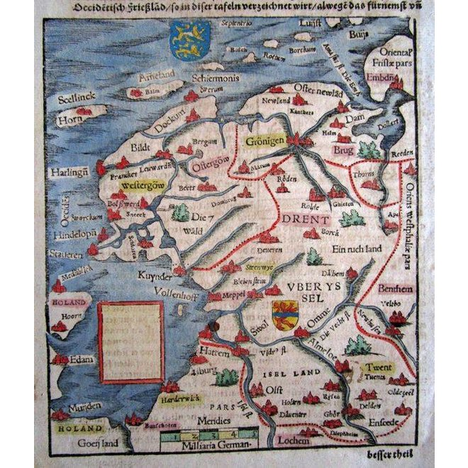 Collectie Gouldmaps - Friesland, Groningen, Drenthe, Overijssel; S. Münster - Beschreibung des Occidentischen Frieszlands - 1580