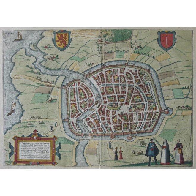 Verkocht - Collectie Gouldmaps - Haarlem - F. Hogenberg / J. Janssonius - Harlemum (..). - 1657