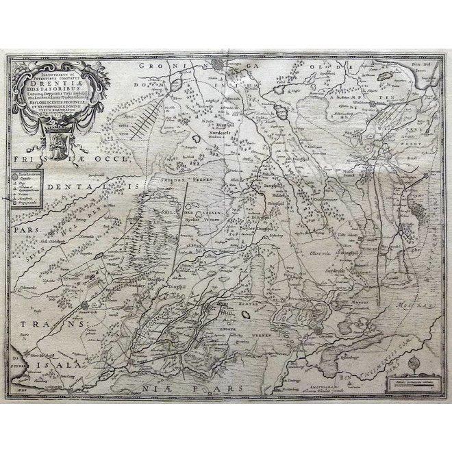 Verkocht - Collectie Gouldmaps - Drenthe; H. Hondius - Comitatus Drentiae (...) - 1639