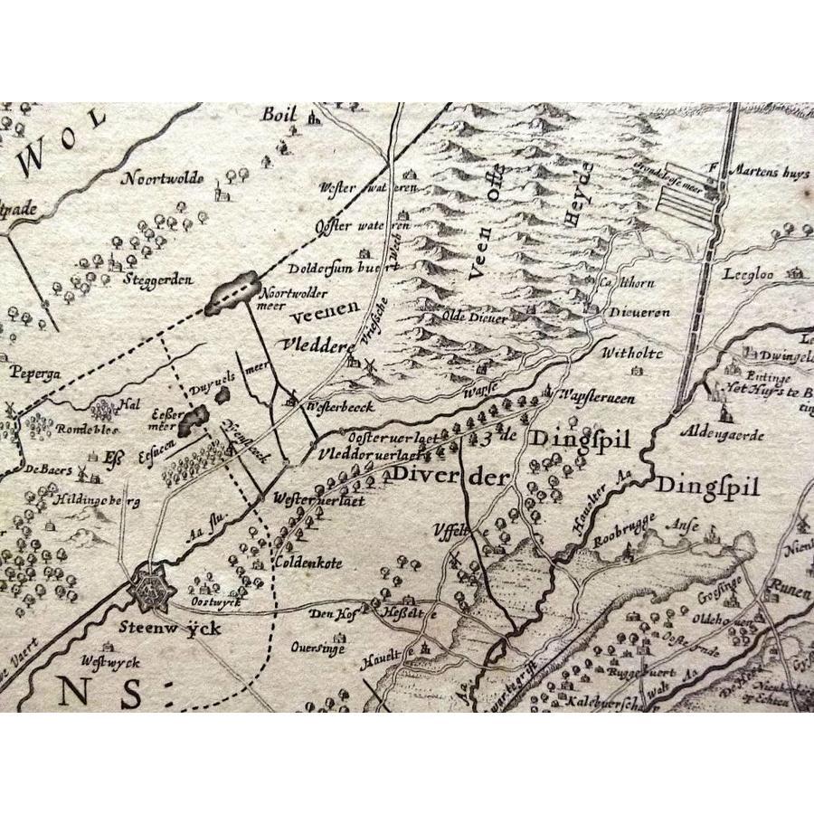 Gouldmaps Verkocht - Drenthe  ; H. Hondius - Comitatus Drentiae (...) - 1639