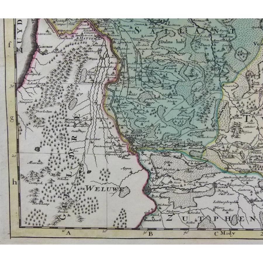 Gouldmaps Verkocht - Overijssel en Drenthe ; H.Jaillot / P. Mortier - La Seigneurie de Over-IJssel (..) - 1692