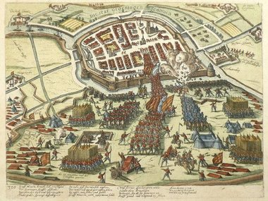 Gouldmaps Groningen - F. Hogenberg - 1596 - Die Stat Groeningen ingenomen.