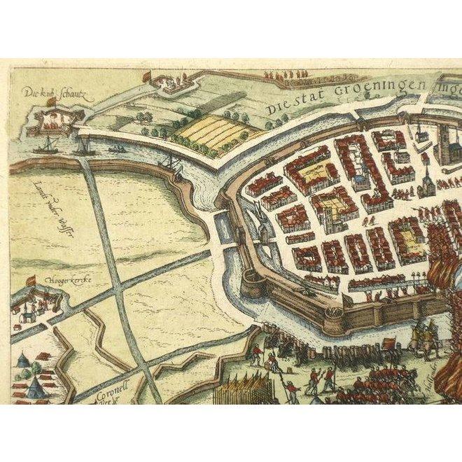Verkocht - Collectie Gouldmaps - Groningen; F. Hogenberg - Die Stat Groeningen ingenomen - 1596 ca.