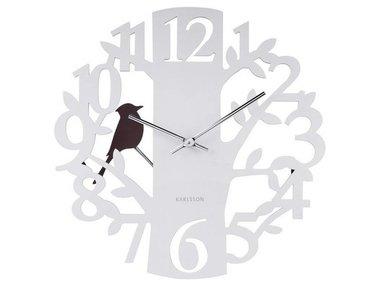 Present time Wandklok Woodpecker Tree, wit