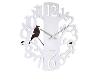 Present time Wandklok Woodpecker Tree, wit