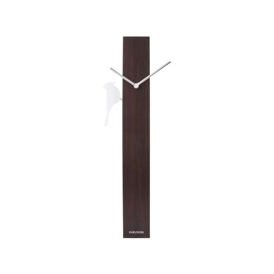 Present time Wandklok Woodpecker Pendulum, donker hout