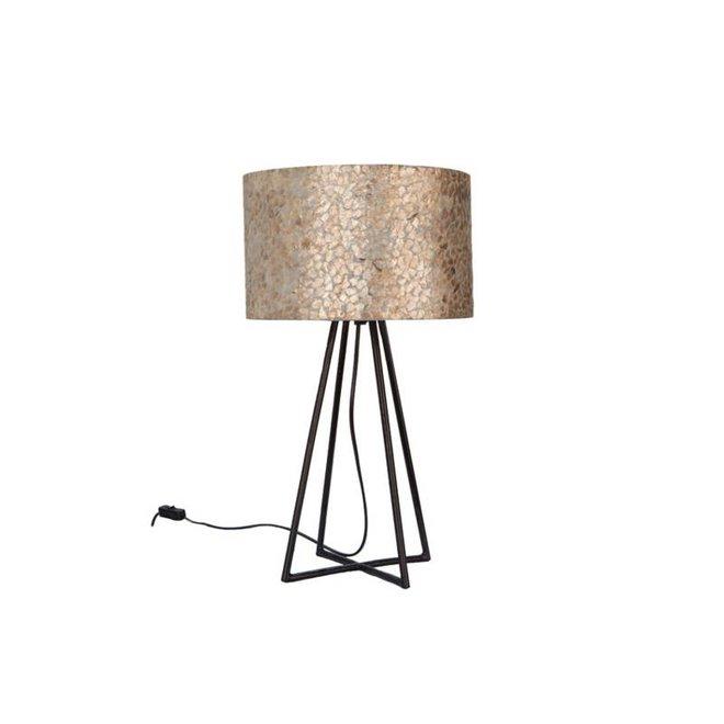 Villaflor schelpenlamp - Wangi Gold - Capri tafellamp met kap - hoogte 50 cm