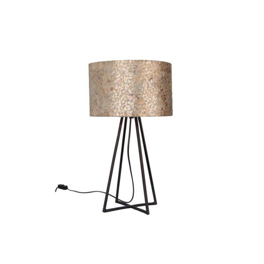Villaflor Villaflor schelpenlamp - Wangi Gold - Capri tafellamp met kap - hoogte 50 cm