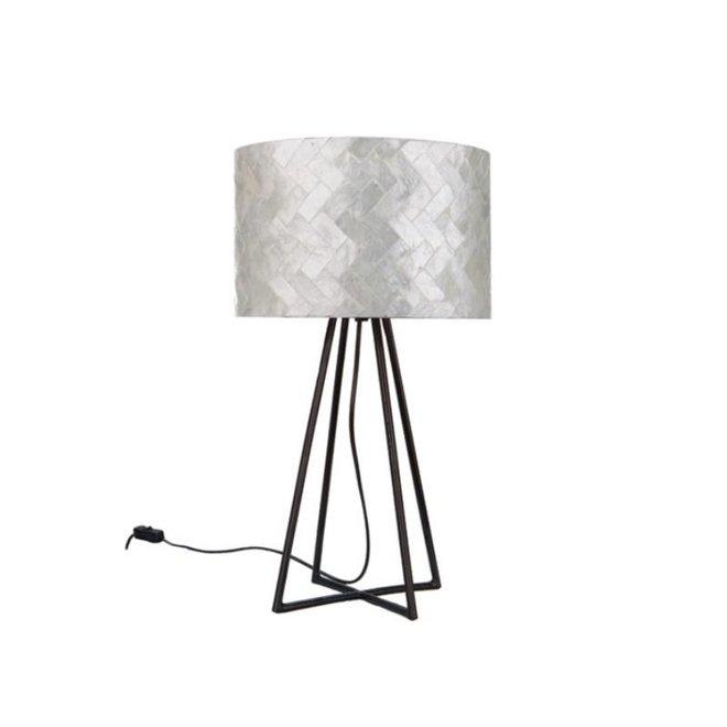 Villaflor schelpenlamp - Zigzag - Capri tafellamp met kap - hoogte 50 cm
