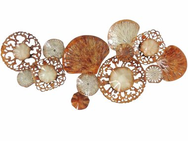 Gave Specials Wall Art Brown Metal Doilies 140x65