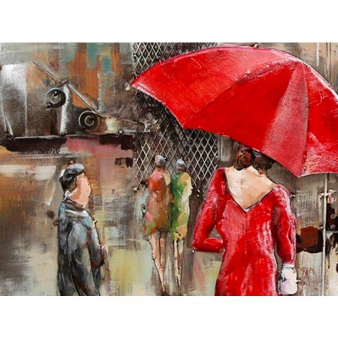 Metal Art Woman in Red 80x120