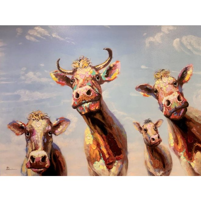 Canvas schilderij Happy Cows 90 x 120 cm