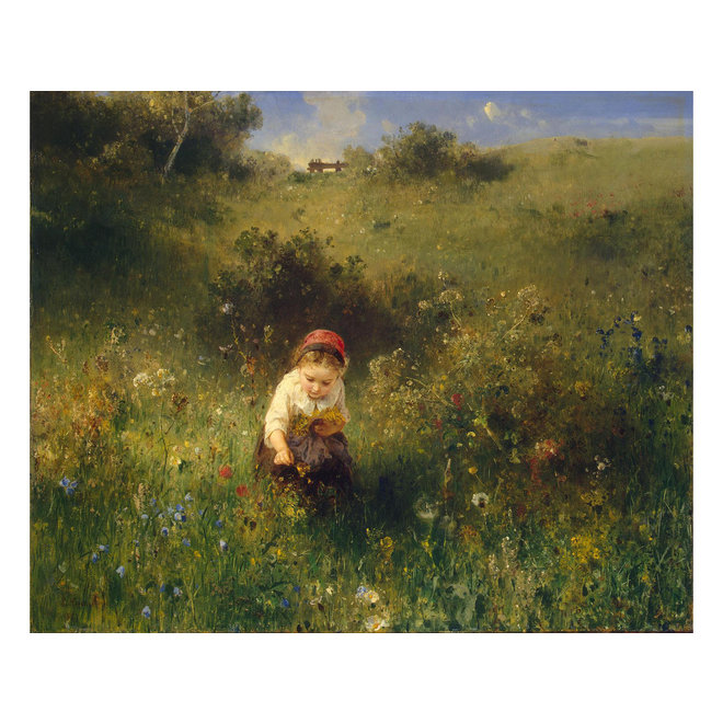 Lakdoos Meisje in bloemenveld