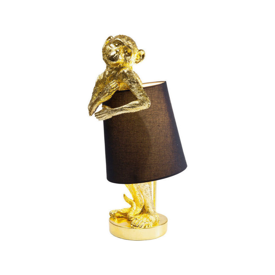 Kare Table Lamp Animal Monkey Gold Black