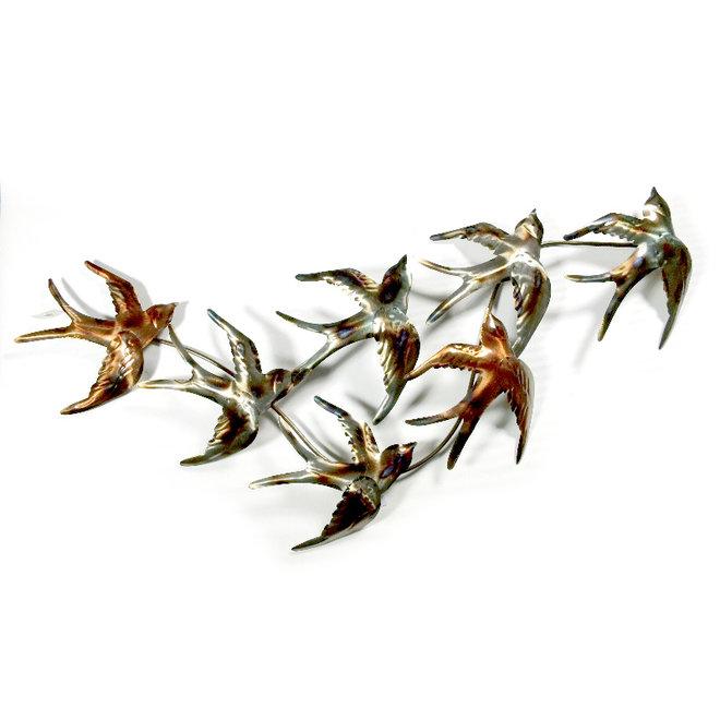 Wall Art A Flock of Swallows 105x45