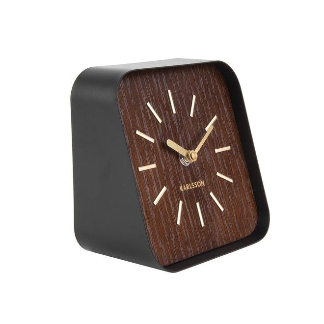 Table Clock Squared, dark wood