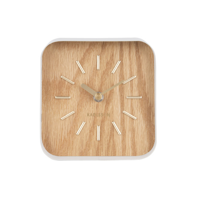 Table Clock Squared, light wood