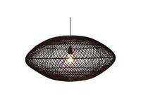 Rattan hanglamp UFO zwart