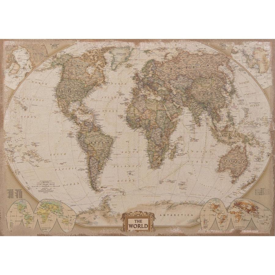 Oude Wereldkaart op linnen