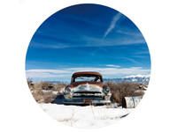 Gave Specials Glass Art Rusted Car in Wintry Landscape