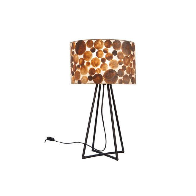 Villaflor schelpenlamp - Coin Gold - Capri tafellamp met kap - hoogte 50 cm