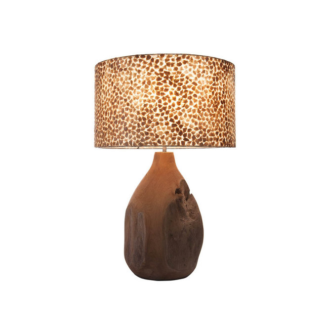 Villaflor schelpenlamp - Wangi Gold - Pepin tafellamp met kap - hoogte 52 cm