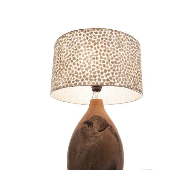 Villaflor schelpenlamp - Wangi White - Pepin tafellamp met kap - hoogte 52 cm