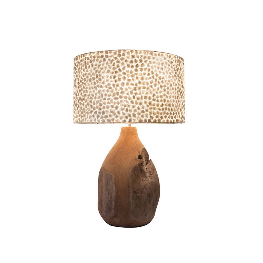 Villaflor Villaflor schelpenlamp - Wangi White - Pepin tafellamp met kap - hoogte 52 cm