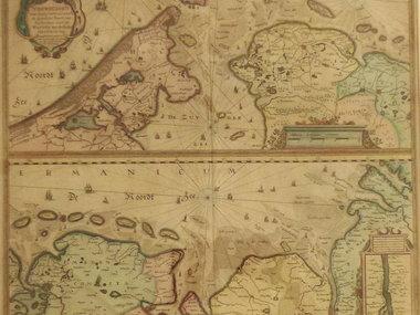Gouldmaps Waddenzee; J. Janssonius - Nieuwe Caerte (..) van Amsterdam over de Watten tot de Stadt Hamborch toe. - 1637