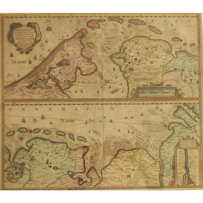 Collectie Gouldmaps - Waddenzee; J. Janssonius - Nieuwe Caerte (..) van Amsterdam over de Watten tot de Stadt Hamborch toe. - 1637