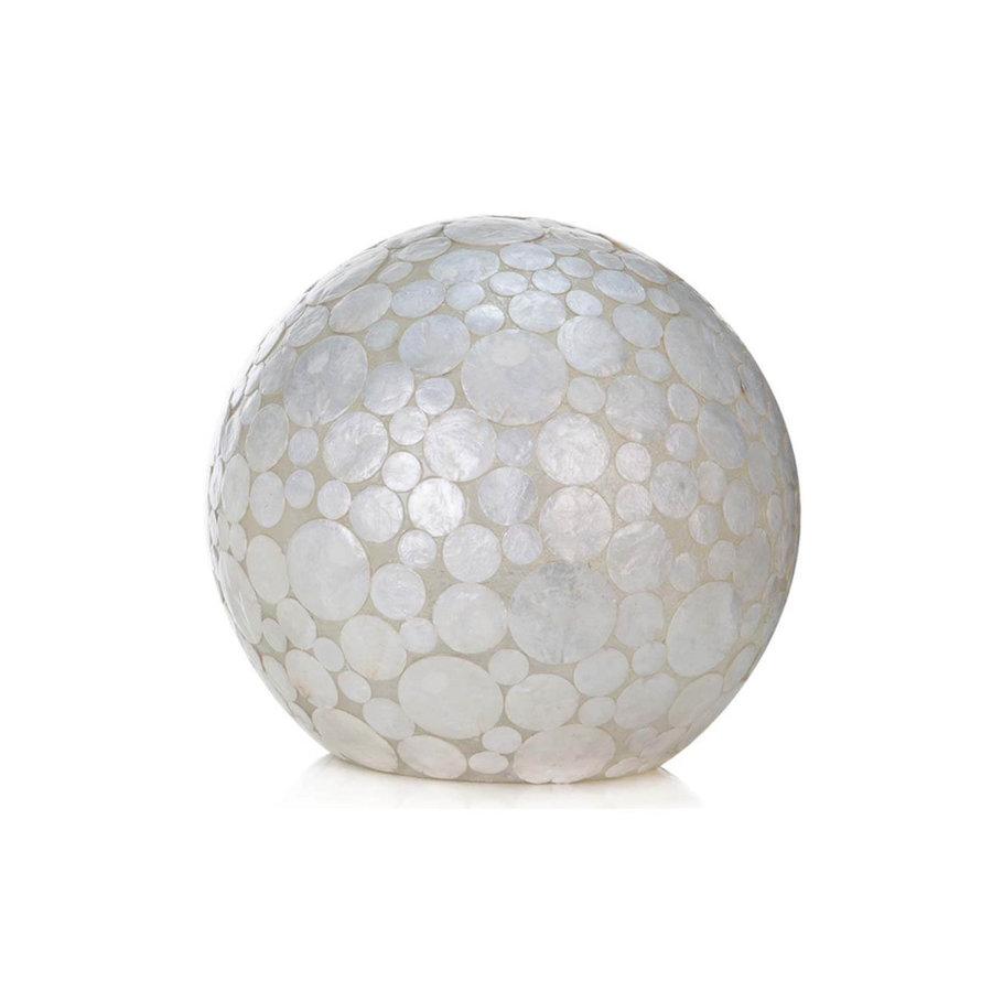 Villaflor Villaflor schelpenlamp - Coin White - tafellamp - Staande bol - Ø 30 cm