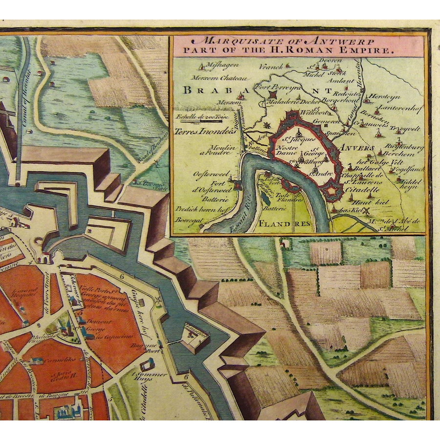 Gouldmaps Antwerpen; J. Basire / N. Tindal - Antwerp A strong, large and Beautiful City (..) - 1751