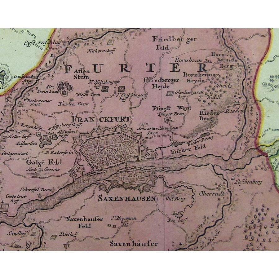 Gouldmaps Frankfurt; J.B. Homann - Abbildung der Keyserl. Freyen Reichs Wahl und Handelstatt Franckfurt (..) - 1715 ca.