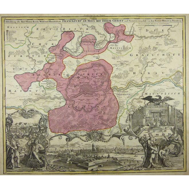 Frankfurt; J.B. Homann - Abbildung der Keyserl. Freyen Reichs Wahl und Handelstatt Franckfurt (..) - 1715 ca.