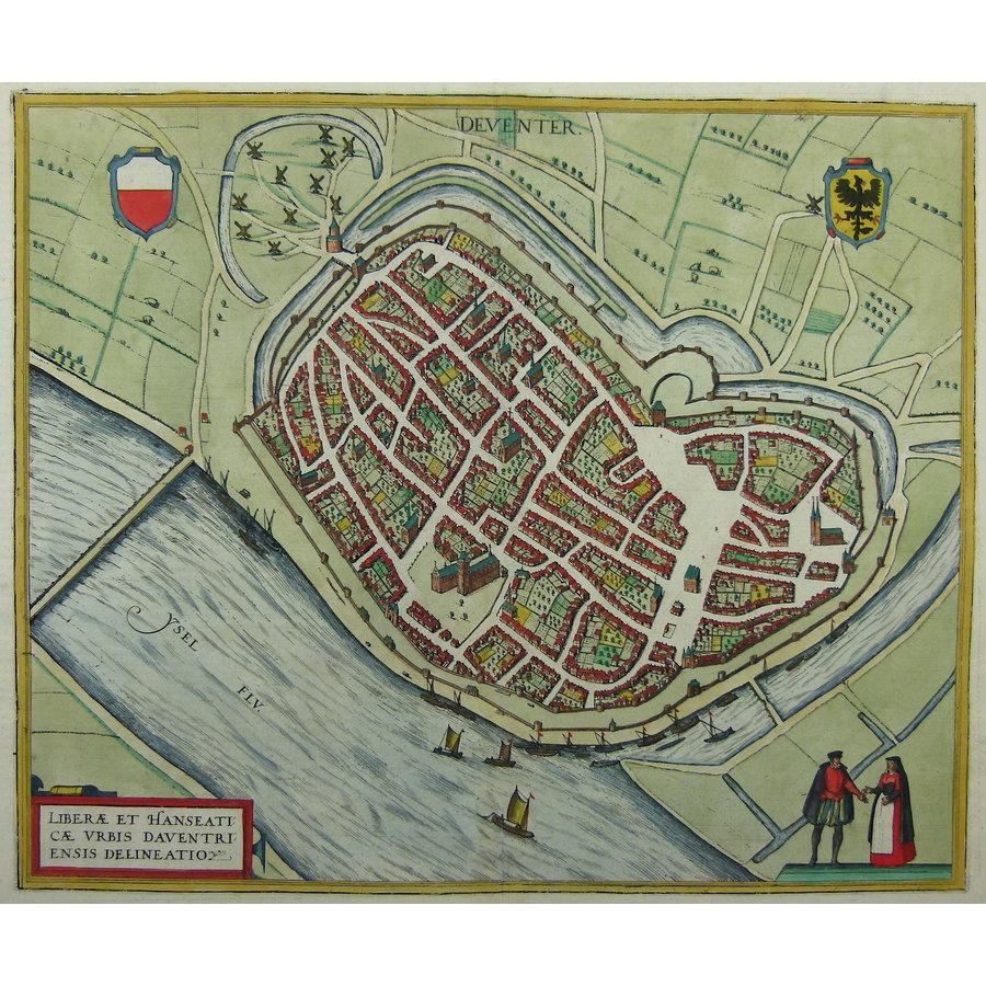 Gouldmaps Deventer; G. Braun / F. Hogenberg - (..) Daventriensis Delineatio. - 1581