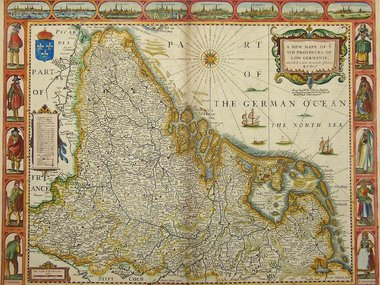 Gouldmaps XVII provinciën; J. Speed - A New Mape of ye XVII Provinces of Low Germanie (..) - 1676
