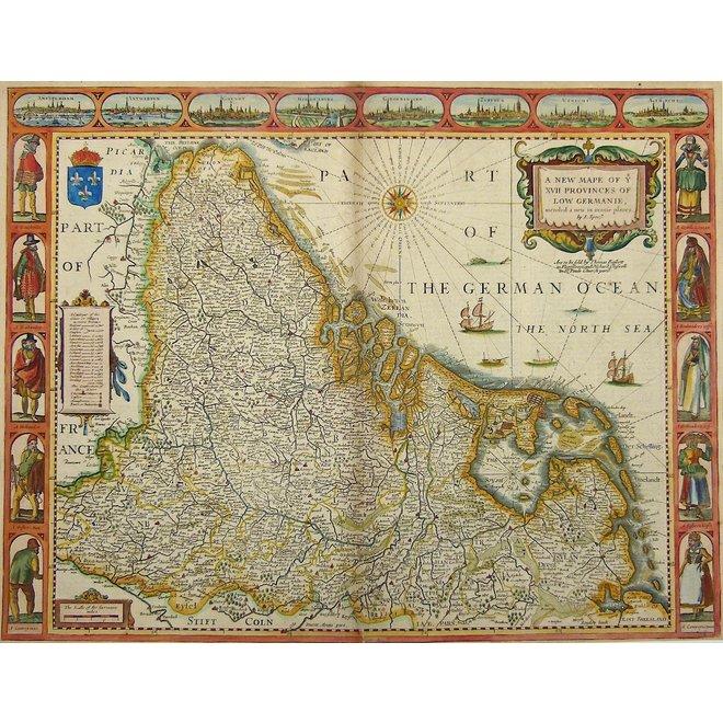 Collectie Gouldmaps - XVII provinciën; J. Speed - A New Mape of ye XVII Provinces of Low Germanie (..) - 1676