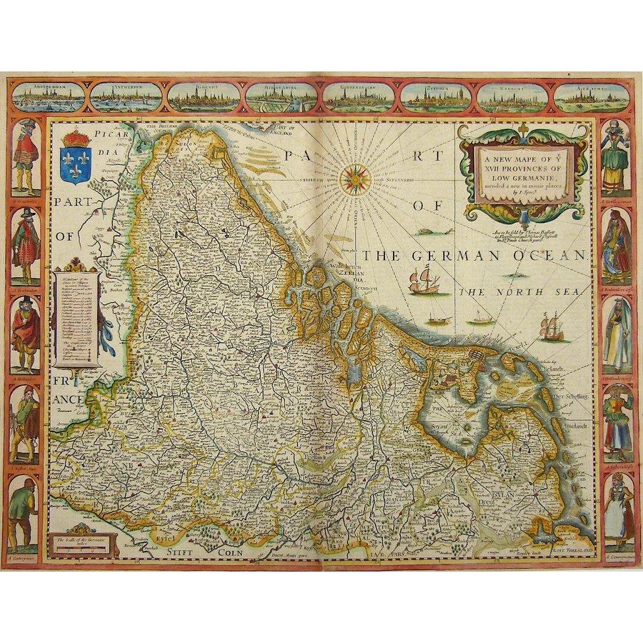 Gouldmaps XVII provinciën;  J. Speed - A New Mape of ye XVII Provinces of Low Germanie (..) - 1676